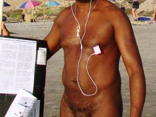 Posing at beach and grooving to some music. Ladies, do you like my new iPod holder?