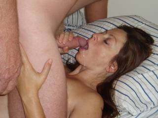 Mmmm, you go girl suck that cock....does his cum taste good...did you swallow it.  I sure would.  He has a nice cock to suck.  MILF K