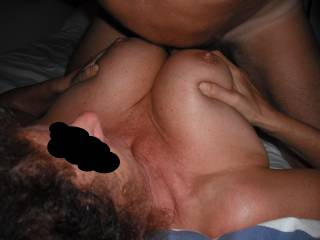 Our swinger friend tit fucks me, when he came around for a threesome.