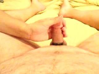 Handjob w/ Cumshot!  Sunday night handjob w/ hubby wearing cock & ball rings...I wanted to start his week off right!