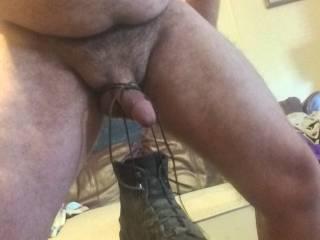 Tie your boot to my cock after I smell it