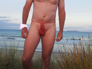 Posing in a G-string at the nude beach after Brazilian wax.