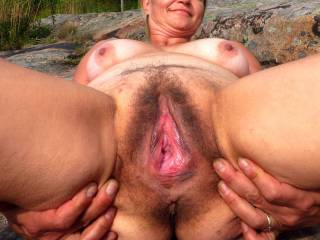 I\'m proudly presenting. Granny\'s old school hairy pussy, experienced by tens and tens of men with all kind of cocks. Still hungry.