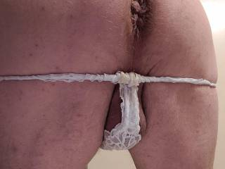 Wishing I had a long hard cock buried in my ass with my thong undies pulled down