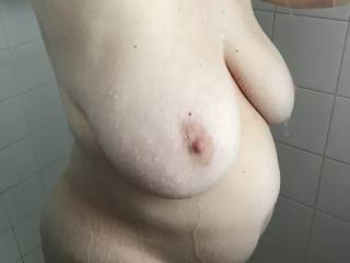 Wife's big tits in the shower
