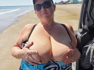Bringing the girls out on a public beach