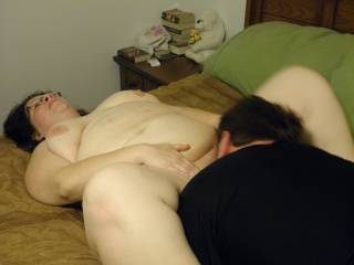 Our new friend showing her how good he is at eating her wet pussy.