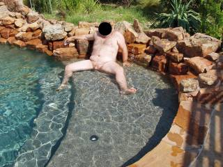 I took away hubby\'s swim trunks and made him pose nude for me in our pool!