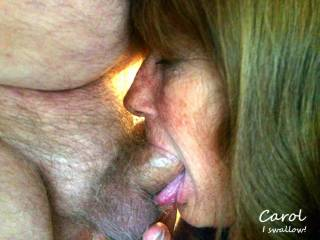I love to swallow a cock, while tugging on his balls, so that it slides all the way down my throat.