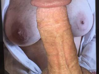 My hard cock between a friends beautiful breasts.