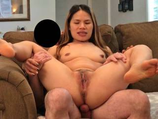 Her being shared.They fucked for a bit with her on top. The guy eventually came inside of her. This is her lifting her pussy up looking to see if any cum was dripping out. The guy had already came in her mouth before so there was not much cum left.