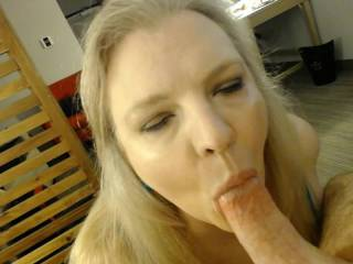 Sucking cock and balls with my hands tied behind me.  My favorite thing in the world is sucking cock and it always makes me cum for real!  Watch me cum while I suck.
