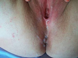 Amazing!!! Love to fuck her cum filled hole can't beat fucking a cum filled pussy best thing ever. Gonna shoot my cum on you now!!!