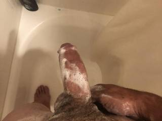 Got my cock all soapy who wants to help me wash it off and take it hard and deep?