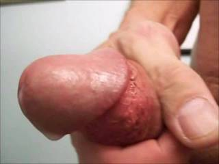 Milking my fat cock to a creamy finish.