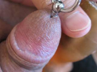 He\'s stuffed and loving it.  Do I see some precum there? Oh boy he loves it.