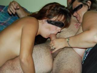 wife jerking hubbies cock into friends mouth..do think he is a lucky guy?