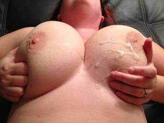 hot load I shot all over the wifes big natural tits.