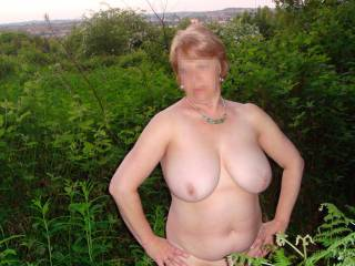 Sexy wifey outdoors.  grea tpic  gorgeous titties. great job guys