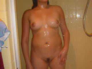 what I think is it's beautiful I should be in the shower with you that's it I thinkand bending you over and sliding my cock balls deep in your Pussy