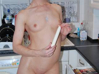 Hot tits... Tight pussy... Naked in the kitchen...my kind of woman