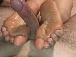 Her soft soles and skillful toes will give your cock the best massage it has ever had