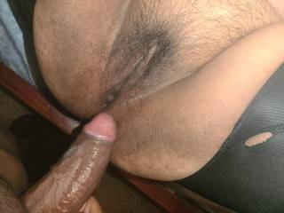 Dick covered in pussy juices, ass full of cum