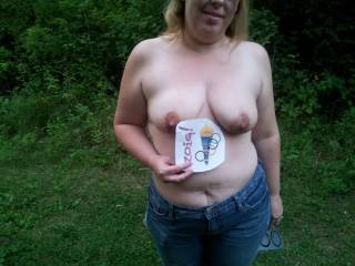 Great shot of her beautiful tits outdoors.