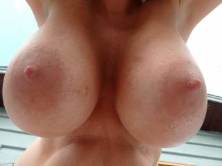 I had my GF lean over so you could enjoy her big hanging g cup tits