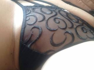What do you think of these panties? Love how the mesh material feels against my clit and pussy lips.. and he loves it when I rub his hard cock against my pussy through them.. hmmm now if only his cock was around to play with..