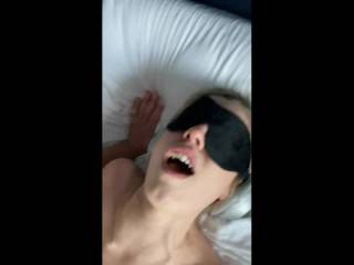 My newest fwb cumming while I fuck her with headphones to block her hearing and blindfold for sight. She likes to be a sub. She's 24. I'm mid 50's.