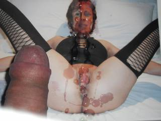 """My latest addition to the wonderfully kinky world of """"photo jerking"""". This one was made while enjoying a great session of sexy women masturbating vids at Zoig."""