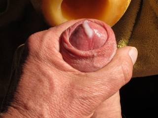 Cumming after deepthroating a juicy melon! Any girly wants to suck off my dick?
