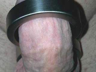 Metal figure eight restraining my cock from getting fully erect... I can still cum like this though!