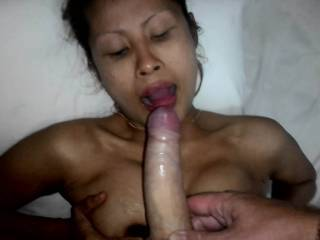She gag a lot but I am very motivated when I press my meat down her little cock throat