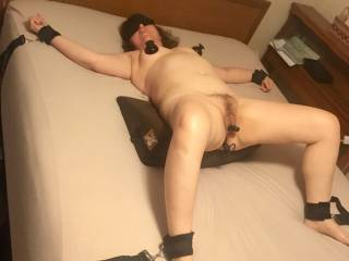 With her first time nipple suckers added to the toy box, she wanted to be tied to the bed. I used the wedge for deep penetration but it was too tempting to not insert toys for teasing. I had to release some of the suction at first as these really tug hard