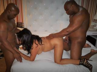 """The wife taking care of 2 Bulls. The guy on the right is porn star Davin King. Look him up on the porn site """"BLACKED"""" or """"PORNHUB"""""""