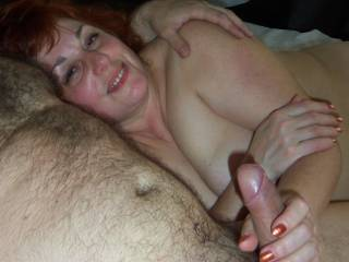 Jewish mature woman Ella with my dick in hand