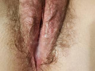 I shot a nice load inside her tight pussy.  Who is next?