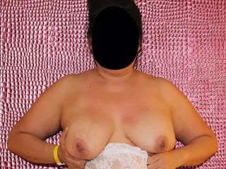 Pink alligator wall and pink nipples on big tits!