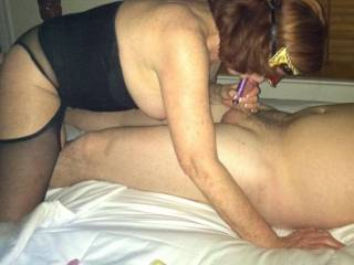 Wife giving boy toy a blow job. Want to be next ?