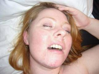 Katie\'s face covered in a stranger\'s cum. She\'ll take cum anywhere though