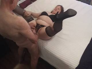 Let me give you some hot cum for that beautiful hairy pussy of yours. Keep those lovely legs nice and wide, dear. Watch wife enjoy it in our newest video.