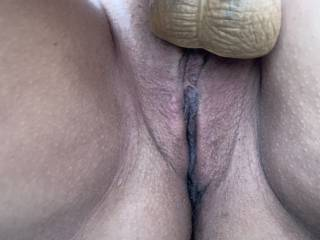 Close up of the wifes pussy while she's rubbing her clit with the balls from her cock!