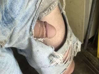 after I ripped my shorts and my dick fell out it started to grow