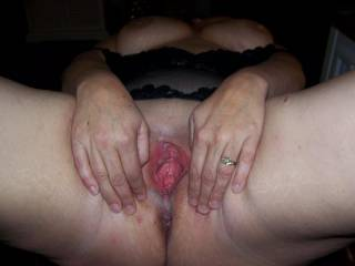 I love the way she fucks other men and spreads her gaping pussy like that. A true, sexy slut!
