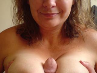 your wife's stunning boobs along with your stunning cock - what a beautiful combination :) x