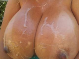 You truly have the most beautiful breasts on the planet. Especially when they are drenched in thick spurts of cum with those fantastic tan lines and super hard nipples.