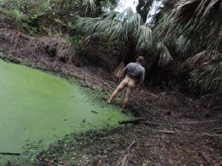 i saw this green mud pool have to get in it