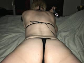 Can you see her pretty pussy peeking out? It's so fucking tasty!